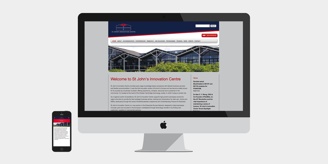 Homepage Design for St John's Innovation Centre Website Design by 2idesign Graphic Design Agency Cambridge